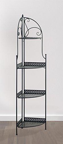 eHemco 4 Tier Metal Folding Corner RackShelf in Black