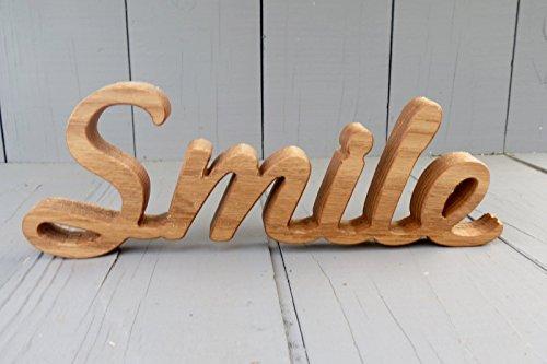 wood smile sign shelf decor shelf sitter word art