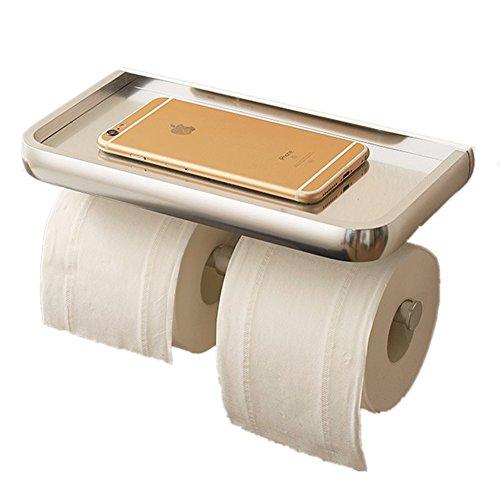 Aluminum Bathroom Toilet Paper Tissue Holder with Mobile Phone Storage Shelf