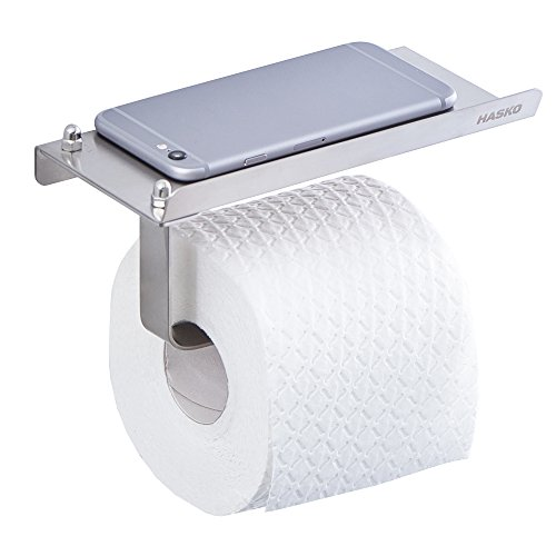 HASKO accessories - Toilet Paper Holder with Mobile Phone Storage Shelf - Stainless Steel Wall Mount Tissue Roll Dispenser for Bathroom Brushed