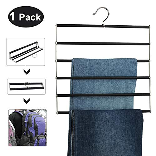 DOIOWN Pants Hangers Slacks Hangers Folding Non Slip Space Saving Stainless Steel Clothes Hangers Closet Organizer for Pants Jeans Trousers Scarf 1 PackBlack&Folding