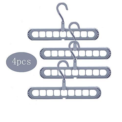 Foldable Non Slip Clothes Hangers 360 Degree Rotation Space Saving Magic Closet Organizer Pack of 4 Grey