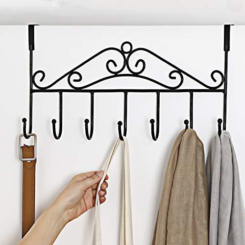 Over Door Hanger with 7 HooksMetal Over the Door Towel HookDecorative Overdoor Organizers Hanging Storage Rack for HatCoatsPursesScarvesClothesJacketsBeltBedroomBathroomCloset Black