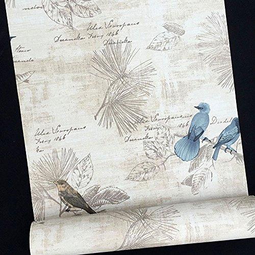 SimpleLife4U Blue Birds Contact Paper Handwriting Pattern Self-Adhesive Shelf Liner Locker Sticker 177 Inch By 98 Feet