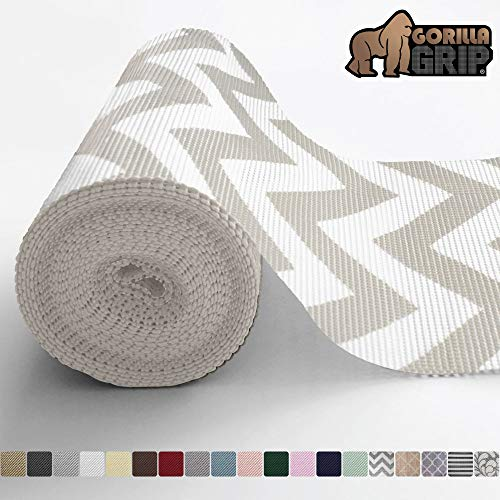Gorilla Grip Original Drawer and Shelf Liner Non Adhesive Roll 20 Inch x 10 FT Durable and Strong Grip Liners for Drawers Shelves Cabinets Storage Kitchen and Desks Chevron Gray White