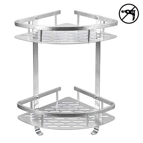 HOMEE Shower Caddy No Drilling Aluminum Wall Mounted Corner Bathroom Shelf 2 Tiers Shelf Organizer Adhesive Storage Basket Silver