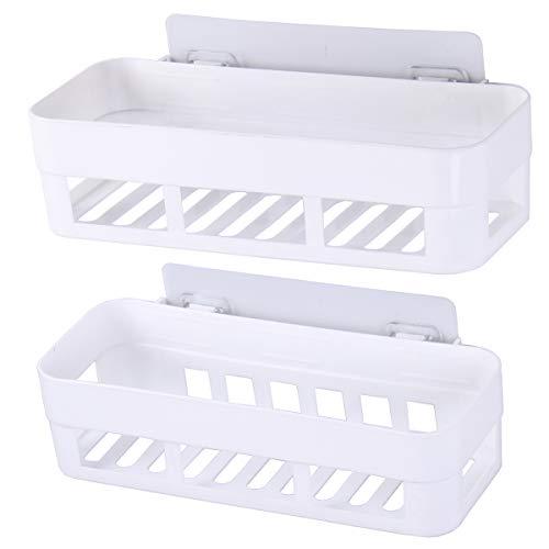 Laigoo 2 Pack Adhesive Bathroom Shelves Organizer Shower Caddy Strong Plastic No Drilling Wall Shower Shelves Floating Shelf Vanity Organizer BasketWhite