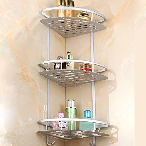 Sunmics No Drilling Bathroom Corner Shelves Aluminum 3 Tier Shower Shelf Caddy Adhesive Storage Basket for Shampoo Corner