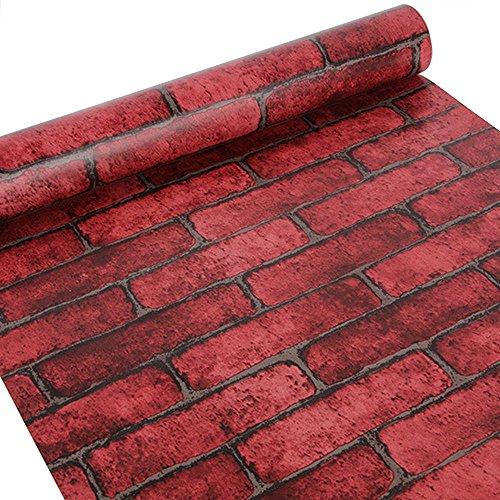 HOYOYO 178 x 78 Inches Self-Adhesive Shelf Liner Self-Adhesive Shelf Liner Dresser Drawer Contact Paper Wall Sticket Home Decoration Red Brick