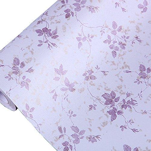 HOYOYO 17x78 Inches Self-Adhesive Shelf Liner Moisture Proof Drawer Paper Shelf Liner Mildew Proof Antifouling Contact PaperPurple Leaves