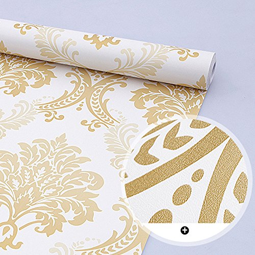 SimpleLife4U 10 Meter328 feet Luxury Damask Design Removable PVC Contact Paper Home Decor Shelf Liner Roll