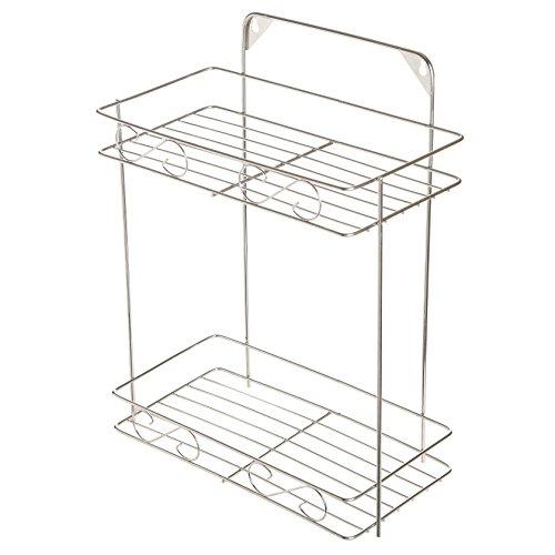 Modern Stainless Steel Bathroom Kitchen 2-Shelf Storage Organizer Rack Freestanding or Wall Mounting