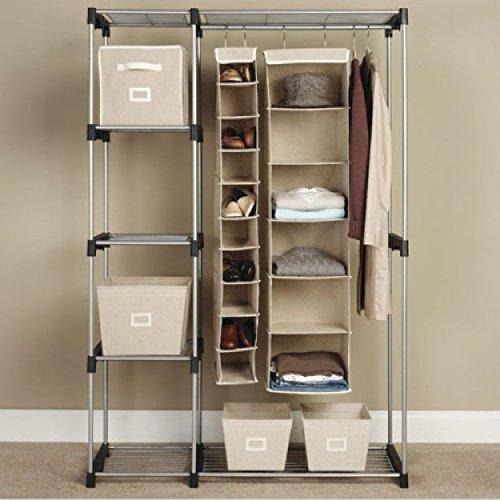 Portable Closet Organizer Clothes Hanger Silver Generic C Double Rod Freestanding Storage Rack Steel Home Garment Shelf G68