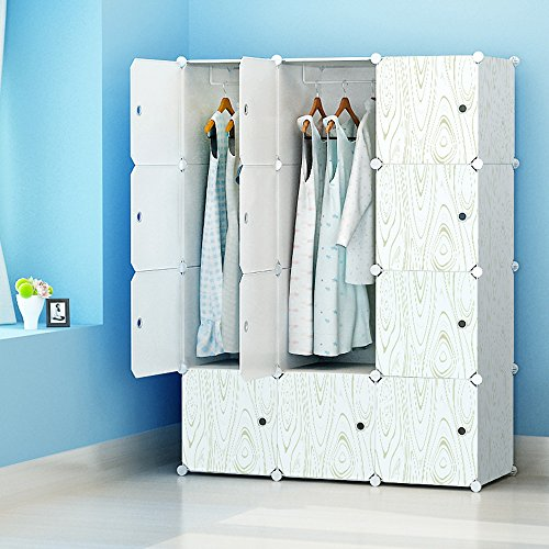 Portable Clothes Closet Modular Wardrobe by KOUSI-Freestanding Storage Organizer with doors  large space and sturdy construction White-12 cube