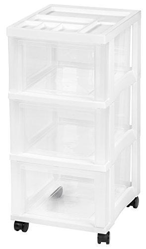 IRIS 3-Drawer Storage Cart with Organizer Top White 2 Pack