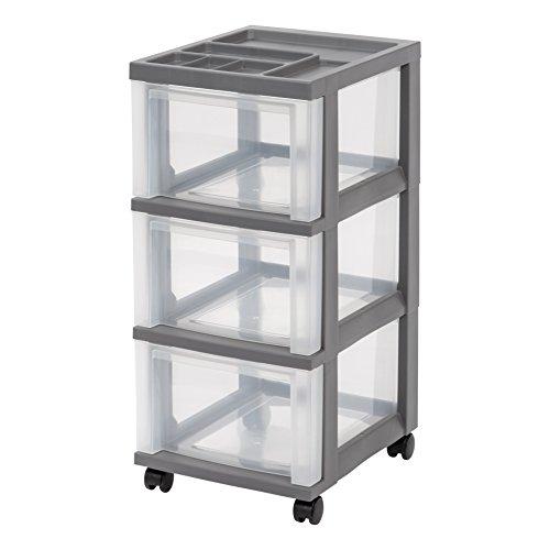 IRIS Medium 3-Drawer Storage Cart with Organizer Gray
