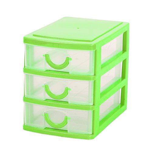 Mochiglory 3 Drawer Storage Organizer Mini Unit Desk Organizer Display Box Green