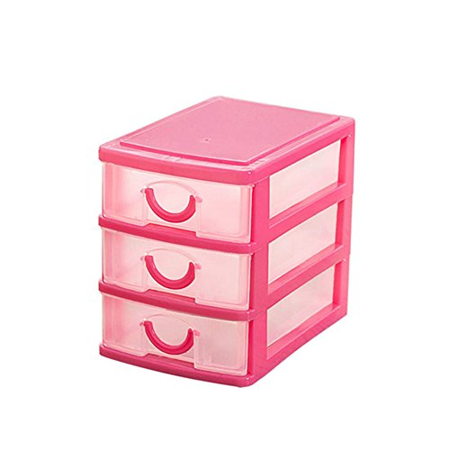 NEW Arrival Durable Plastic Mini Desktop Drawer Sundries Case Small Objects Cosmetics Storage Box Stackable Cube Organizer 23 Drawers Three LayerPink