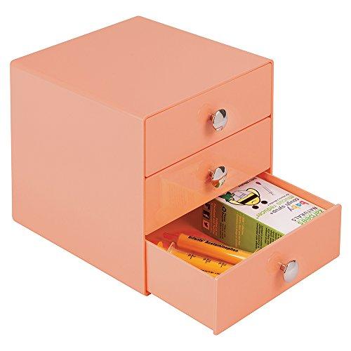 mDesign Baby Nursery 3-Drawer Storage Organizer for Binkies Medicine Lotion Thermometer Nasal Aspirator - Coral