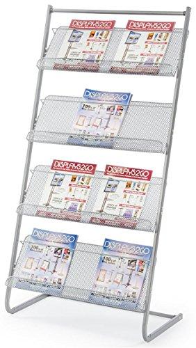Displays2go 25 Floor Standing Magazine Rack 4-Tier Steel MSMG4TGR