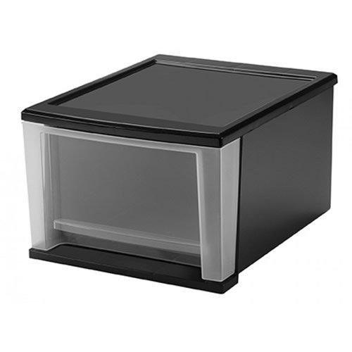 IRIS 17 Quart Medium Black Stacking Drawer - 1425 L x 1205 W x 839 H 1 Drawer