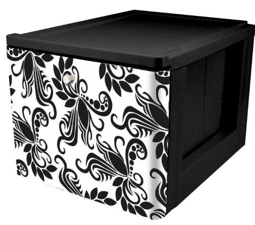 IRIS Stacking File Storage Drawer with Design 1-Pack Black