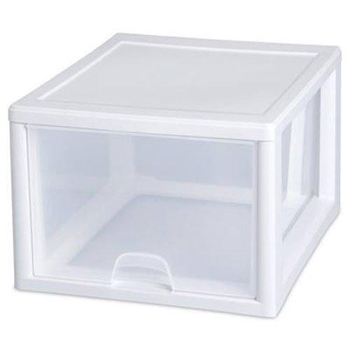 Sterilite 23108004 27 Quart26 Liter Stacking Drawer White Frame with Clear Drawers 4-Pack