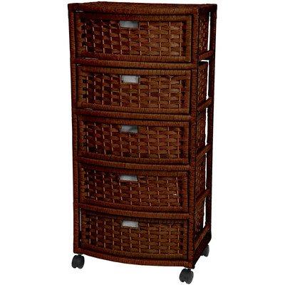 5-Drawer Storage Chest Made w Wicker in Mocha Finish 375 H x 1725 W x 13 D