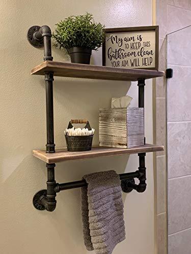 Industrial Pipe Bathroom Shelves Wall Mounted 2-shelfRustic Pipe Shelving Wood Shelf With Towel BarPipe Floating Shelves Towel Holder