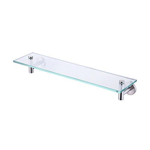KES 20-Inch Glass Shelf Bathroom Storage Organizer Shelf with 8 MM-Thick Tempered Glass and Brushed Nickel Rustproof Metal Bracket Wall Mount Rectangular A2021-2