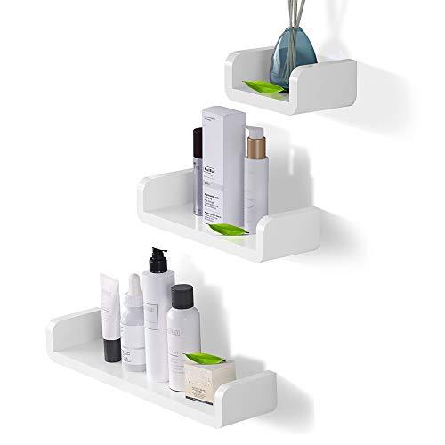Laigoo Adhesive Floating Shelves Non-Drilling Set of 3 Display Picture Ledge Shelf U Bathroom Shelf Organizer for HomeWall DecorKitchenBathroom StorageSML