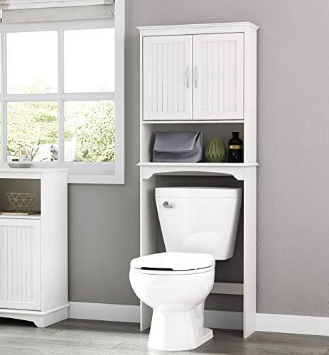 Spirich Home Bathroom Shelf Over-The-Toilet Bathroom SpaceSaver Bathroom Storage Cabinet Organizer White