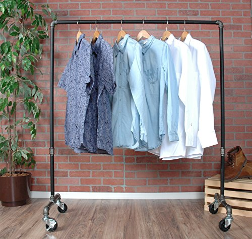 Industrial Pipe Rolling Clothing Rack by William Roberts Vintage