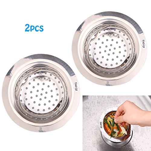 2PCS Stainless Steel Kitchen Mesh Sink Strainer - Easy Handle Kitchen Garbage Basket by TAOQI - Large Wide Rim 43 Diameter - Free Seal Clip