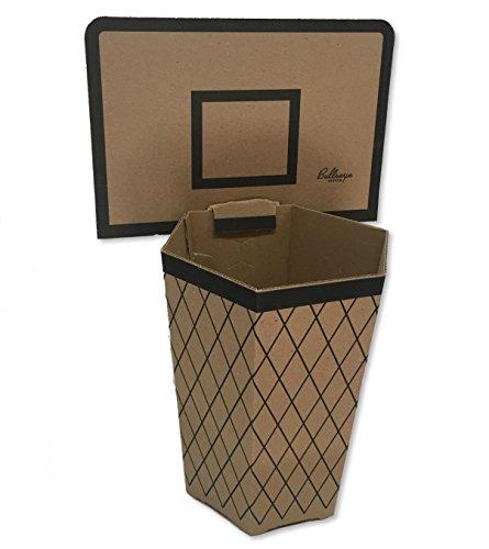 Bullseye Office Cardboard Basketball Trash Can Theme - Perfect Small Waste Basket or Bin for College Dorm Office Desk Bathroom Kitchen Deskside or Home