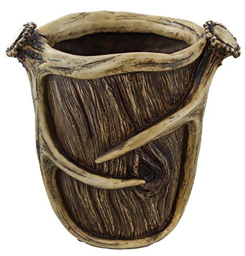 Small Deer Antler  Tree Bark Waste Basket Trash Can Bucket Planter Flower Pot