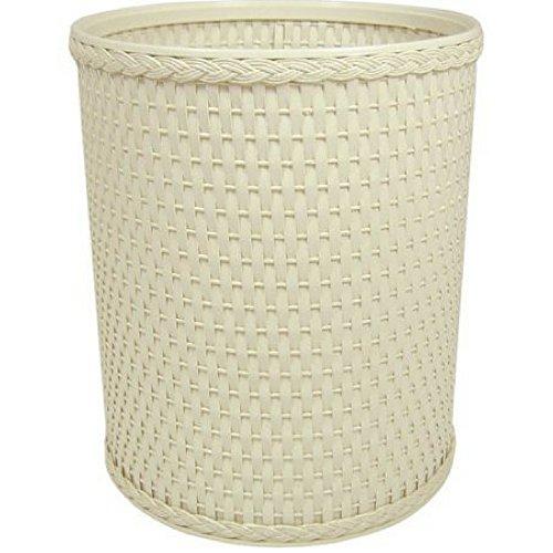 Chelsea Collection Decorator Color Round Wicker Wastebasket Cream