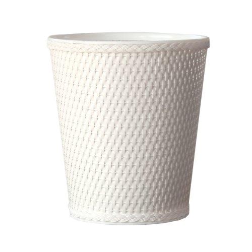 Lamont Home Carter Round Wicker Waste Basket White