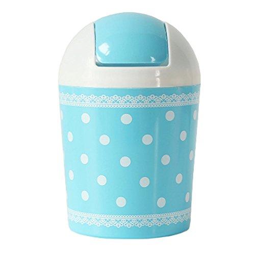 2PCS Cute Mini Trash Can Bin Desk Wastebasket with Lid for HomeOffice Blue