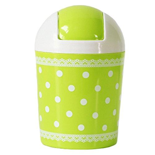 2PCS Cute Mini Trash Can Bin Desk Wastebasket with Lid for HomeOffice Green