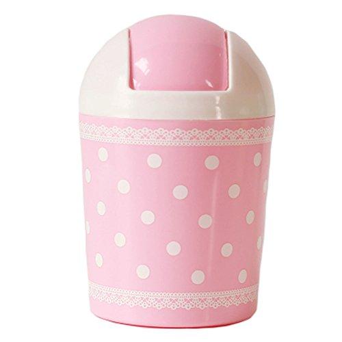 2PCS Cute Mini Trash Can Bin Desk Wastebasket with Lid for HomeOffice Pink