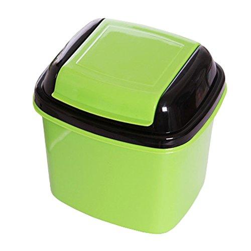 Cute Mini Trash Can Bin Wastebasket with Lid for HomeOfficeCar Green
