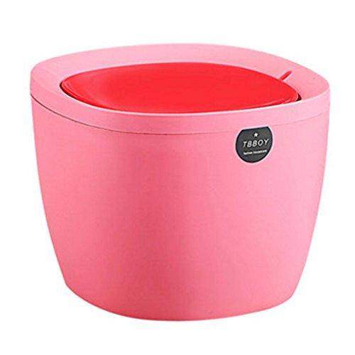 Fashion Mini Trash Can Bin Desk Wastebasket with Lid for HomeOffice Light Red