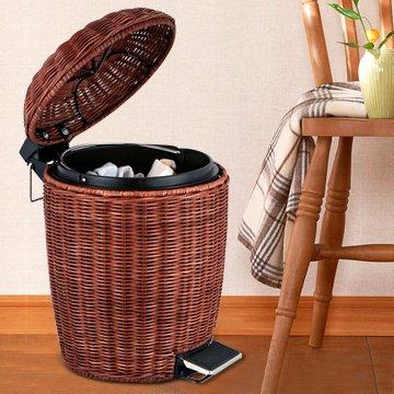 WWJ Rattan-style luxury home trash creative trash foot bathroom waste basket with lid living room kitchen trash can  brown