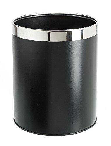 Bennett Detach-A-Ring Trash Can Small Metal Wastebasket Modern Home Décor Round Shape Black