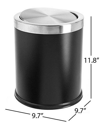 Bennett Swivel-A-Lid Trash Can Small Office Metal Wastebasket Modern Home Décor Round Shape