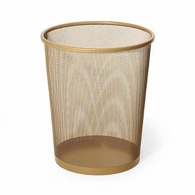 Mesh Metal Wastebasket in Gold