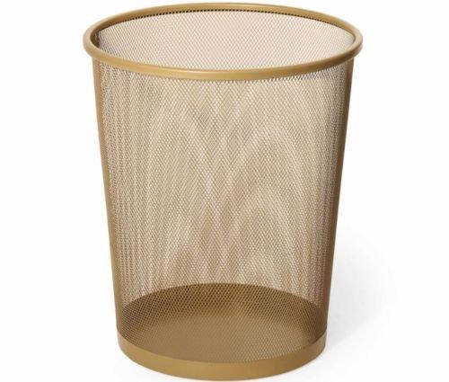 New Gold Steel Mesh Metal Wastebasket Trash Can Cleaning Home Office Garbage Bin