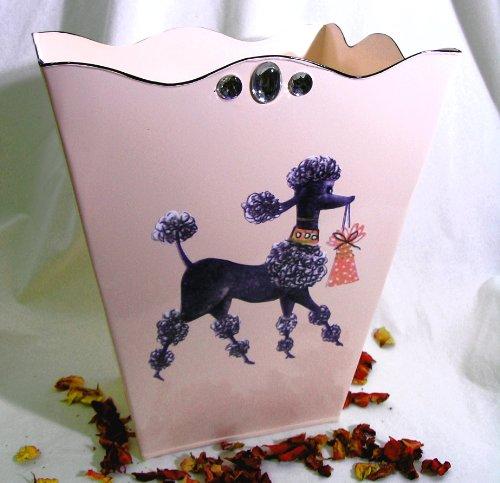 Vintage French Poodle Wastebasket Trash Receptacle Trash Holder or Bin ~ E20 Shabby Chic Pink Enamel Coated Metal Waste Basket with French Vintage 50s Poodle Decoupage Art