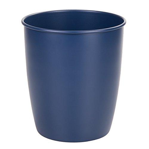 mDesign Metal Wastebasket Trash Can for Bathroom Office Kitchen - Matte Navy Blue